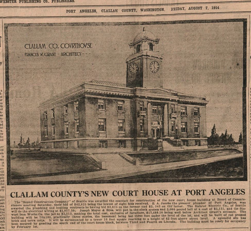 Clallam Countys New Court House Olympic Leader 1914 Aug 7 page 1 col 2-5